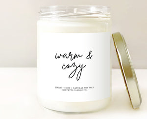 cozy candle, warm & cozy, bedroom candle, guest bedroom