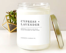 Load image into Gallery viewer, Cypress + Lavender Soy Candle Vegan | Natural Soy Wax Candle | Woodland, Woody, Herbal, Forest