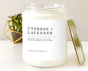 Cypress + Lavender Soy Candle Vegan | Natural Soy Wax Candle | Woodland, Woody, Herbal, Forest