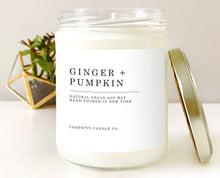 Load image into Gallery viewer, Ginger + Pumpkin Soy Candle Vegan | Natural Soy Wax Candle | Pumpkin, Gingersnap, Scented, Fall Decor, Autumn, Home Aroma