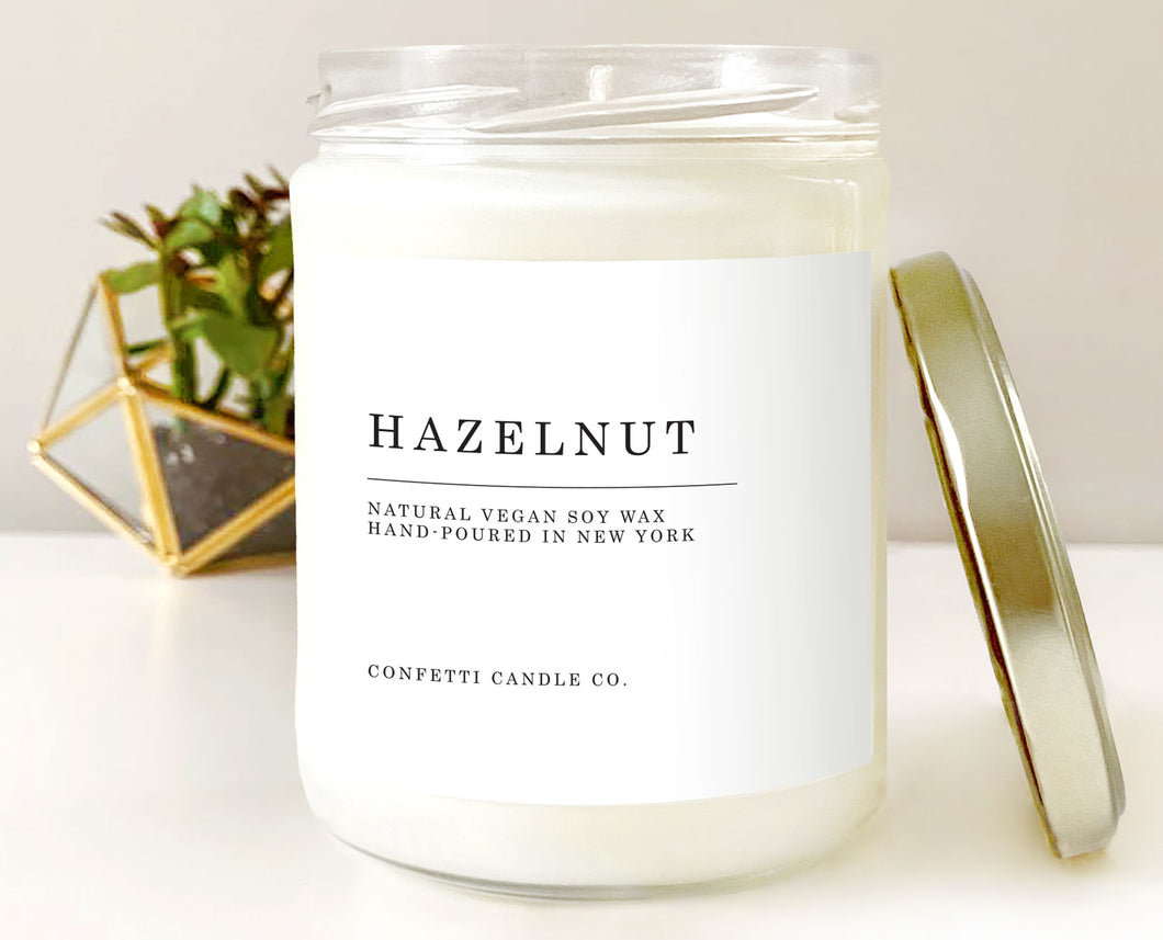 Hazelnut Vegan Soy Candle | Natural Soy Wax Candle | Fall, Autumn, Nut, Filbert, Eco Friendly, Scented, Home Decor, Creamy, Nutty, Sweet