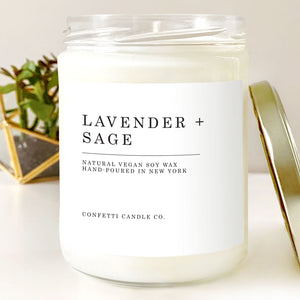 Lavender + Sage Natural Soy Wax Candle