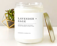 Load image into Gallery viewer, Lavender + Sage Natural Soy Wax Candle