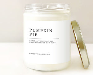 pumpkin pie candle, confetti candle co, pumpkin spice candles, pumpkin candles, soy wax candles, vegan candles, handmade candles, american soy wax, spice candles, fall candles, autumn candles, thanksgiving candles