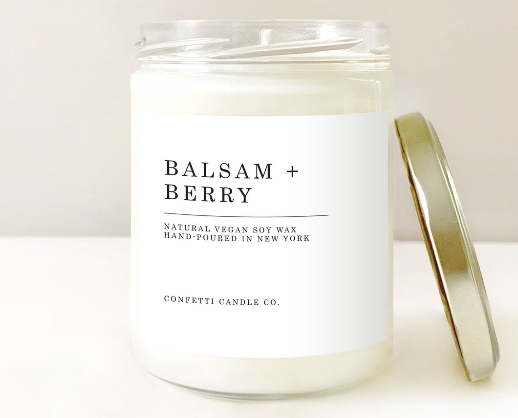 balsam berry candle, balsam candle, winter berry candle, winter candle, holiday candle, christmas candle, pine candle, soy candle, soy wax candle, american grown soy wax, vegan candle, minimal candle, handmade candle, new york candle