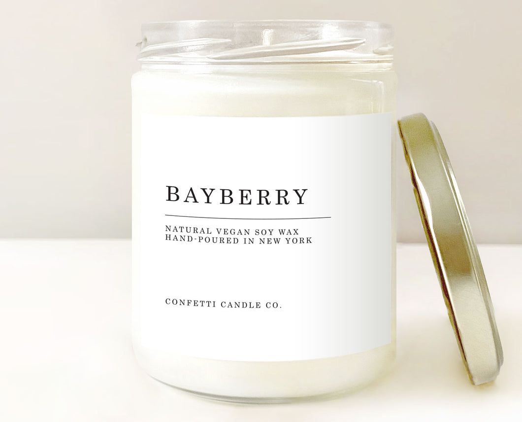 bayberry candles, winter berry candles, bayberry candle, joy candle, abundance candle, winter candle, december candle, holiday candle, christmas candle, new year's candle, soy wax candle, vegan candle, american grown soy wax