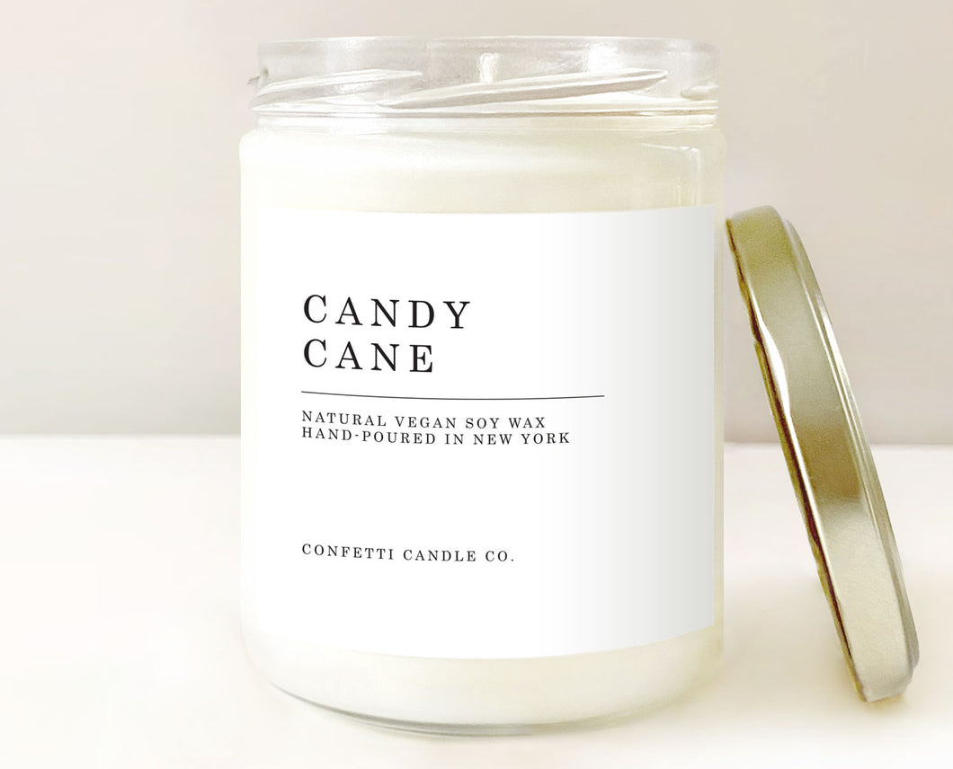 candy cane candle, peppermint candle, vanilla candle, mint candle, peppermint vanilla, soy candle, soy wax candle