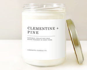clementine pine candle, winter candle, snow candle, sparkling clementine candle, pine candle, soy candle, soy wax, handmade candle