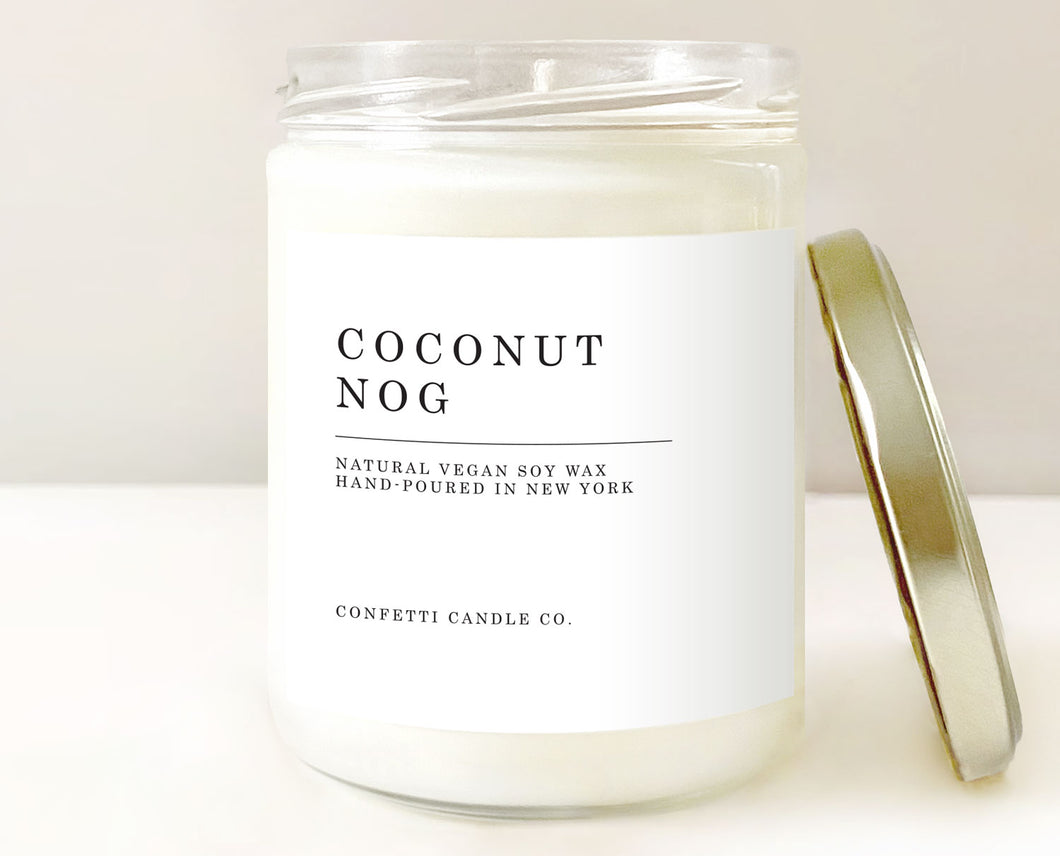 coconut nog candle, coquito candle, holiday candle, vegan candle, soy candle, soy wax candle
