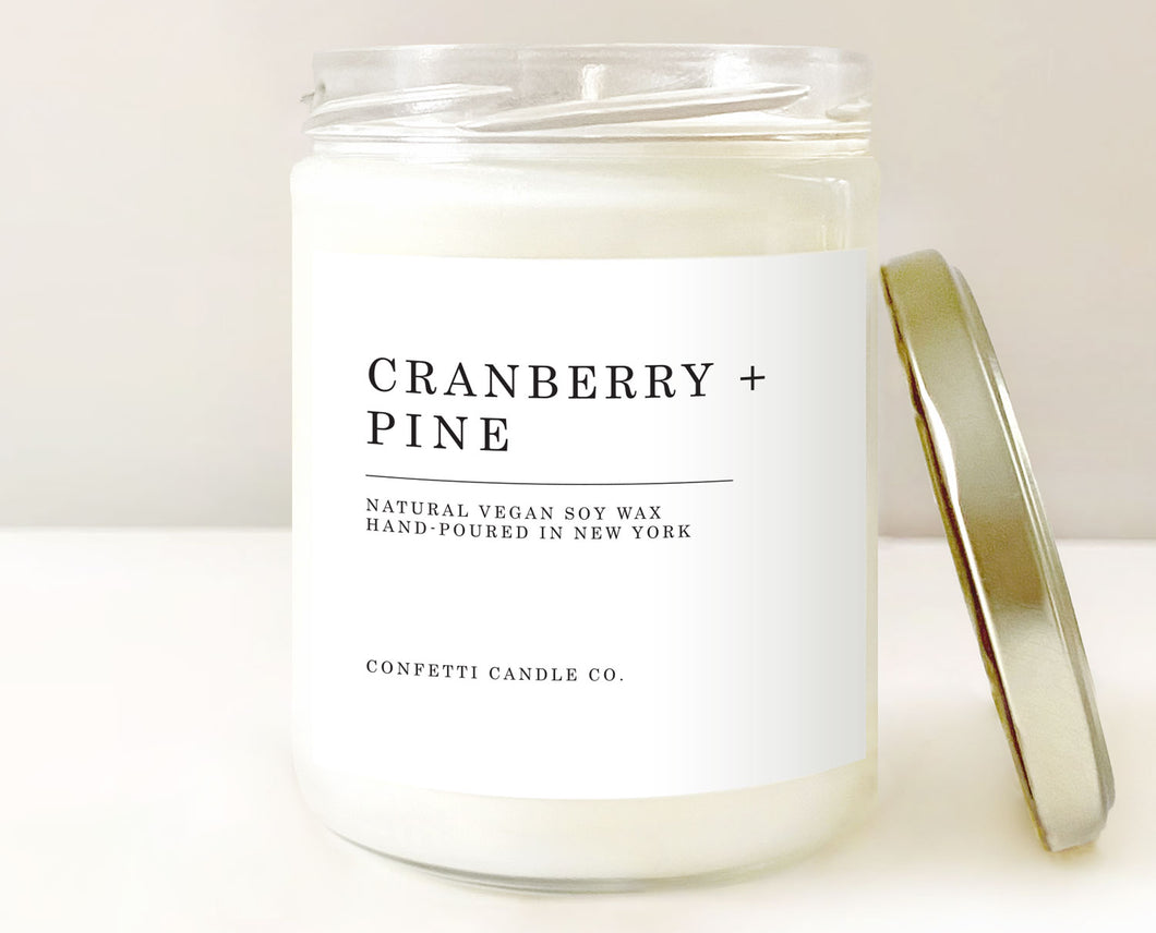 cranberry candle, pine candle, cranberry christmas candle, cranberry + pine