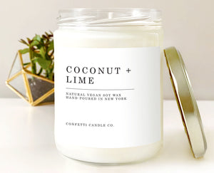 Coconut + Lime Vegan Candle Soy | Natural Soy Wax Candle | Scented Candle
