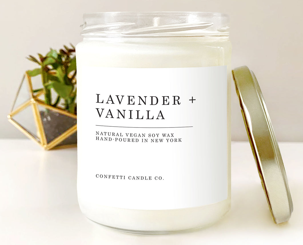 Lavender Vanilla Vegan Candle | Scented Soy Candle | Natural Soy Wax Candle