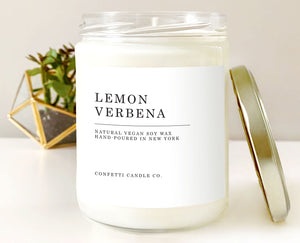 lemon verbena candle, earthy, citrus, bold, herbal, clean, fresh, refreshing, soy candle