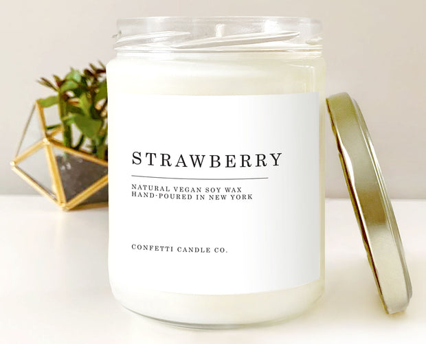 Strawberry Vegan Soy Wax Candle 1