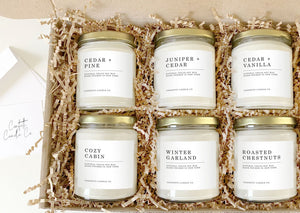 cedar candles gift set, cedar + pine, juniper + cedar, cedar + vanilla, cozy cabin, winter garland, roasted chestnuts, soy candles, soy wax