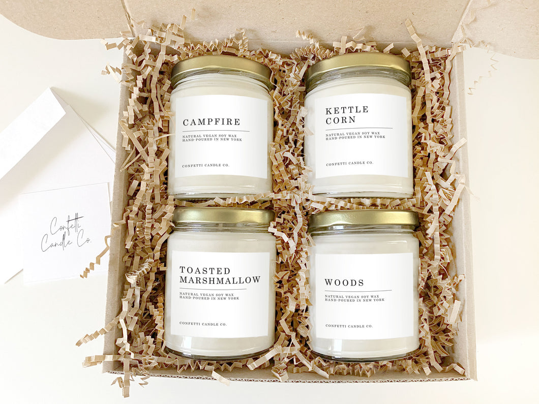 Camping Gift Set Vegan Soy Candles | Campfire, Kettle Corn, Toasted Marshmallow, Woods