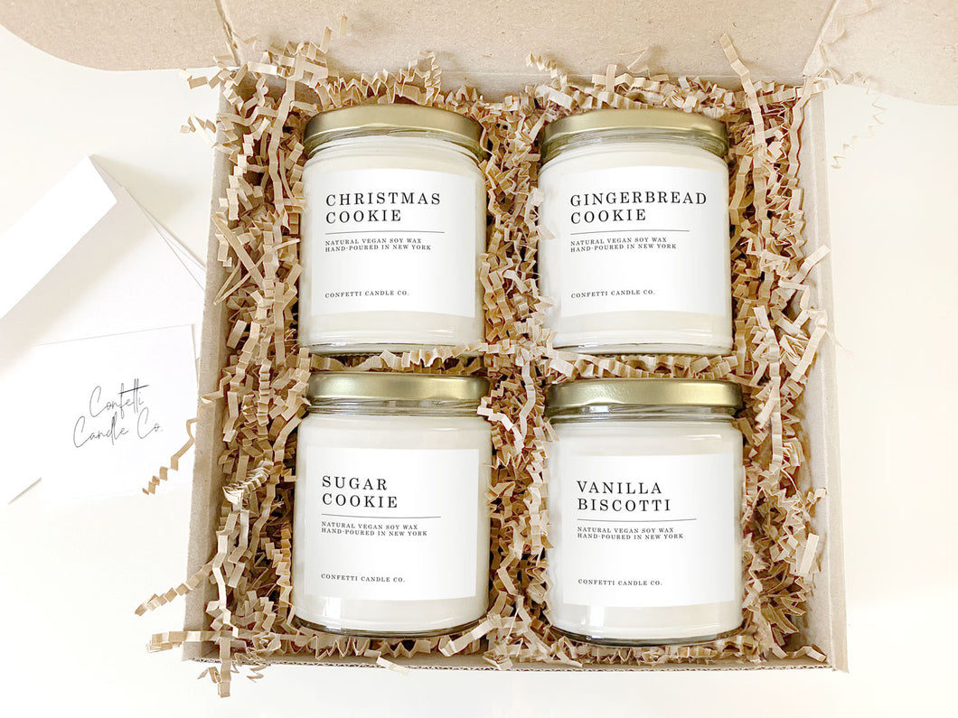 Christmas Cookies Candle Gift Set | Natural Soy Wax | Gingerbread Cookie, Vanilla Biscotti, Christmas Cookie, Sugar Cookie