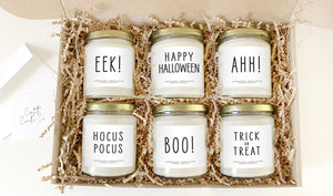 Halloween Soy Candle Set | Set of 6, 8 oz Vegan Pumpkin Spice Scented Candles