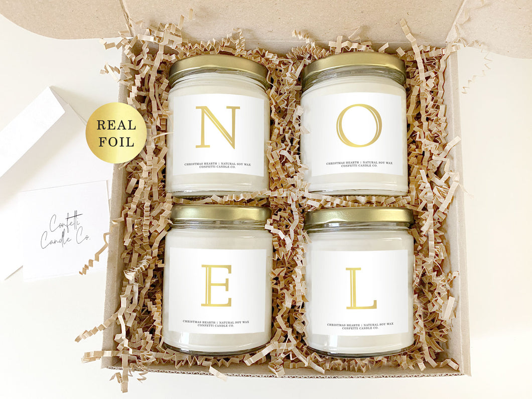 NOEL Soy Candles Set | Natural Soy Wax | Christmas Hearth Candles Gift
