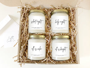 Silent Night Candles, Silent Night, Holy Night, All is Calm, All is Bright, Christmas Candles, Holiday Candles, Winter Candles, December Candles, Fireplace, Mantle, Hearth, Candle Gift, Balsam Candles, Myrrh Candles, Clove Candles, Chestnut Candles, Clementine Candles, Pine Candles, Citrus Candles