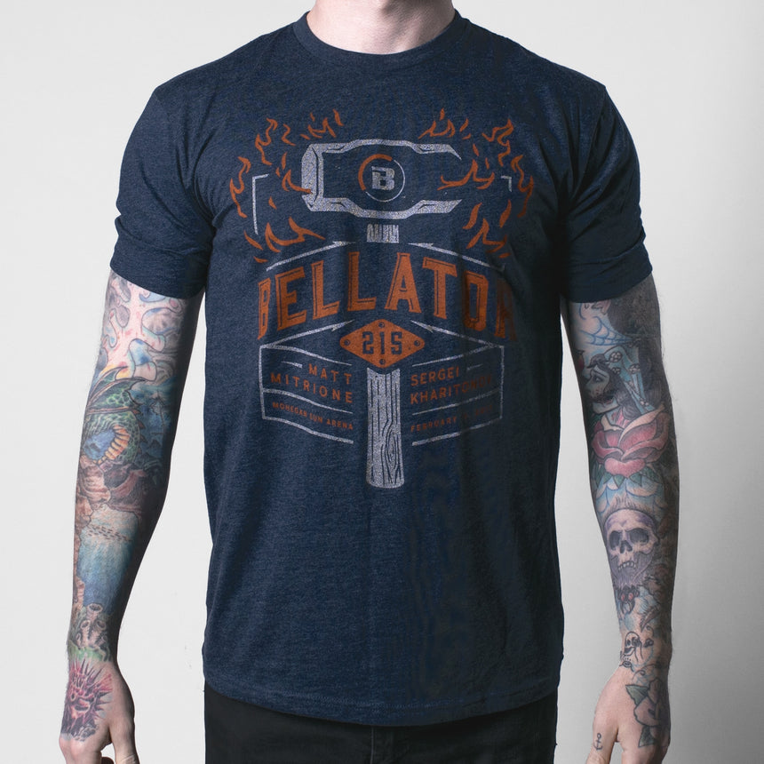 Bellator 215 Flaming Sledge Tee - Navy Heather
