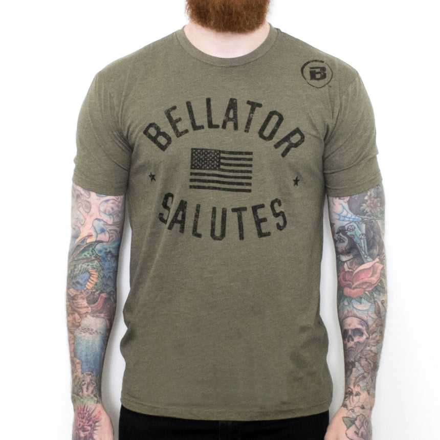 BELLATOR SALUTES TEE - Military Green Front
