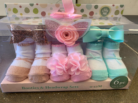 Little Me 0-12 months 6 Pc Gift Set Girls