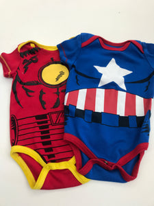3-6 Months Marvel Onsies Shirts 2 pack bundle