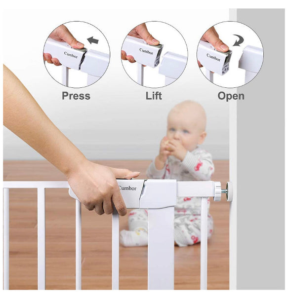 "Cumbor 40.6"" Auto Close Safety Baby Gate, Durable Extra Wide Child Gate for Stairs,Doorways, Easy Walk Thru"