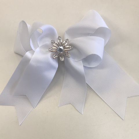 Hair Clip White Bow with flower
