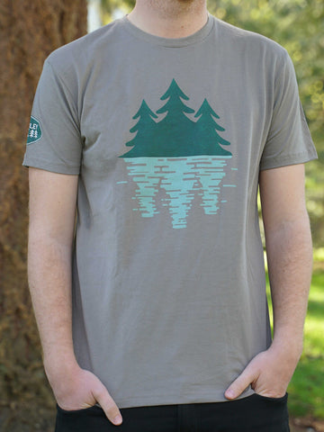 Tree Reflection Logo T-shirt Warm Grey