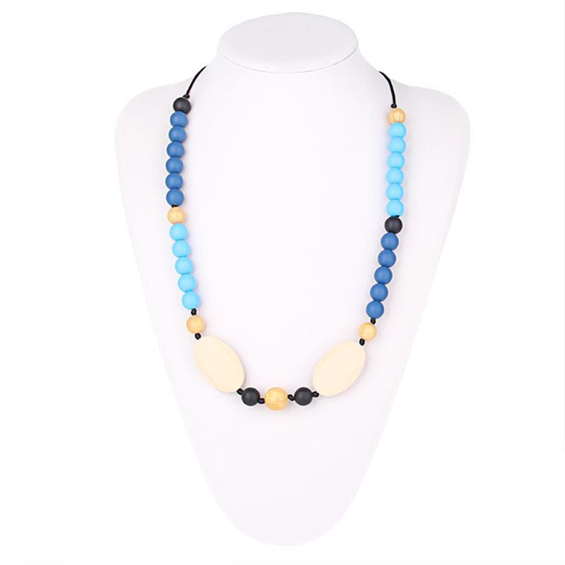 Silicone Beaded Oval Style Teething Necklace