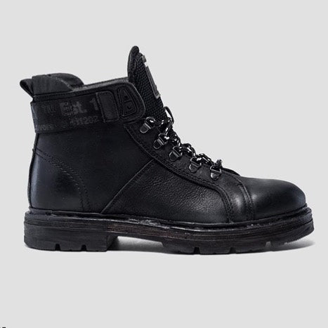 Replay Leder-Boots schwarz