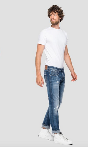 Replay HYPERFLEX Jeans Slim Fit Anbass destroyed