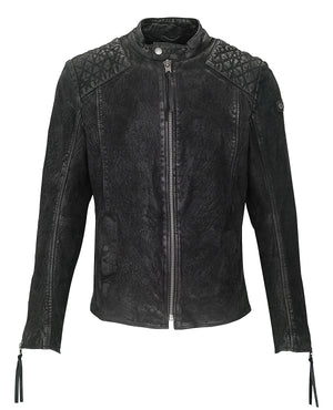 Tigha Lederjacke Nero buffed