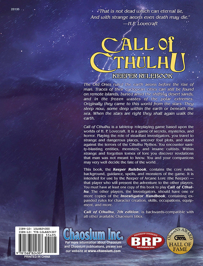 Call of Cthulhu Keeper Rulebook | Davis Cards & Games