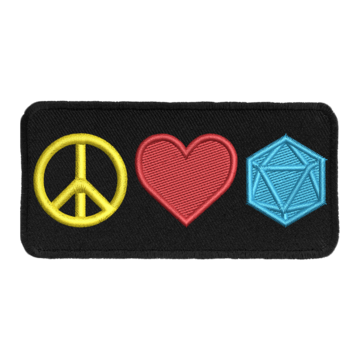 Peace Love and D20 - Iron-On Patch | Davis Cards & Games
