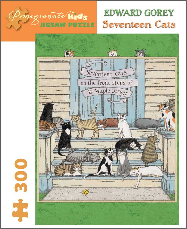 Pomegranate: Edward Gorey: Seventeen Cats 300 Piece Puzzle | Davis Cards & Games