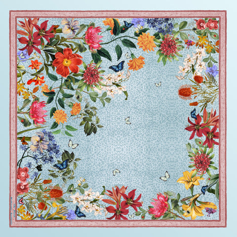 'Botanica Blue' CLASSIC Silk Scarf 90cm x 90cm - The Block Collection