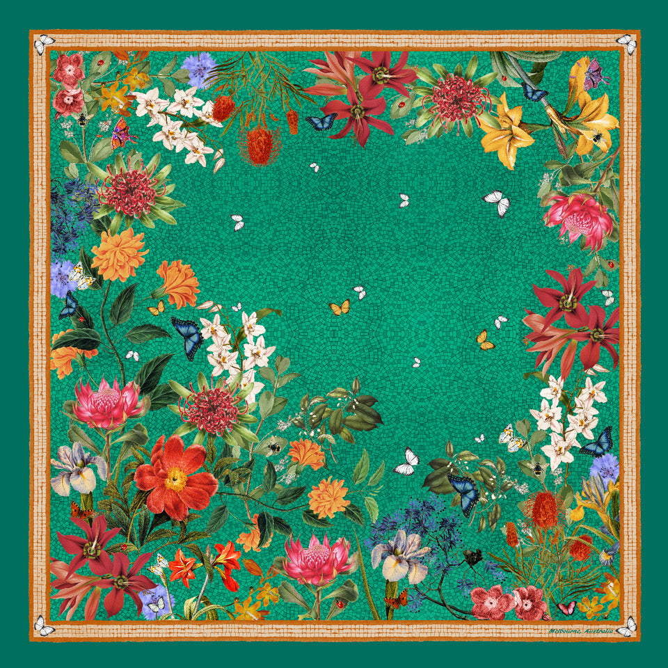'Botanica Emerald' SMALL Silk Kerchief Scarf  53cm x 53cm - The Block Collection