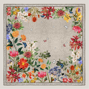 'Botanica Ecru'  CLASSIC Silk Scarf 90cm x 90cm - The Block Collection