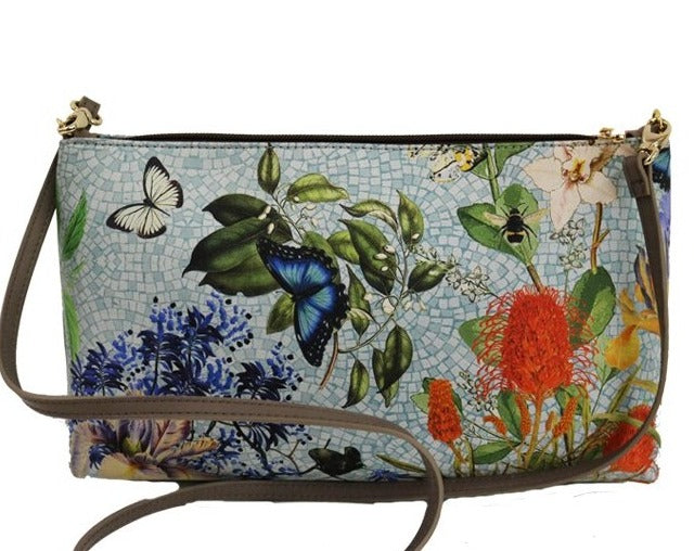 'Botanica Silk & Leather Clutch & Side Bag' - Blue - The Block Collection