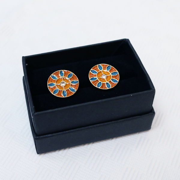Gold Plated Sterling Silver Mosaic Daisy Design Cufflink