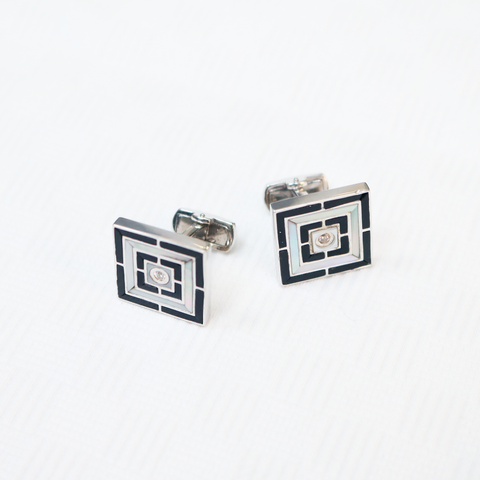 Mother of Pearl & Onyx Sterling Silver Cufflinks - The Block Collection
