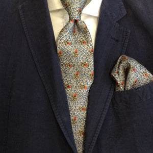 'Gumnut Blossom Mosaic' 100%  silk MENS Tie set - The Block Collection