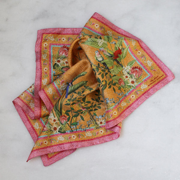 'Regeneration Mango'  SMALL Silk Kerchief Scarf 53cm x 53cm - The Block Collection