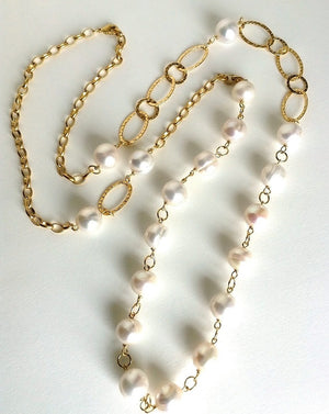 PEARLA Brushed gold and multi pearl necklace
