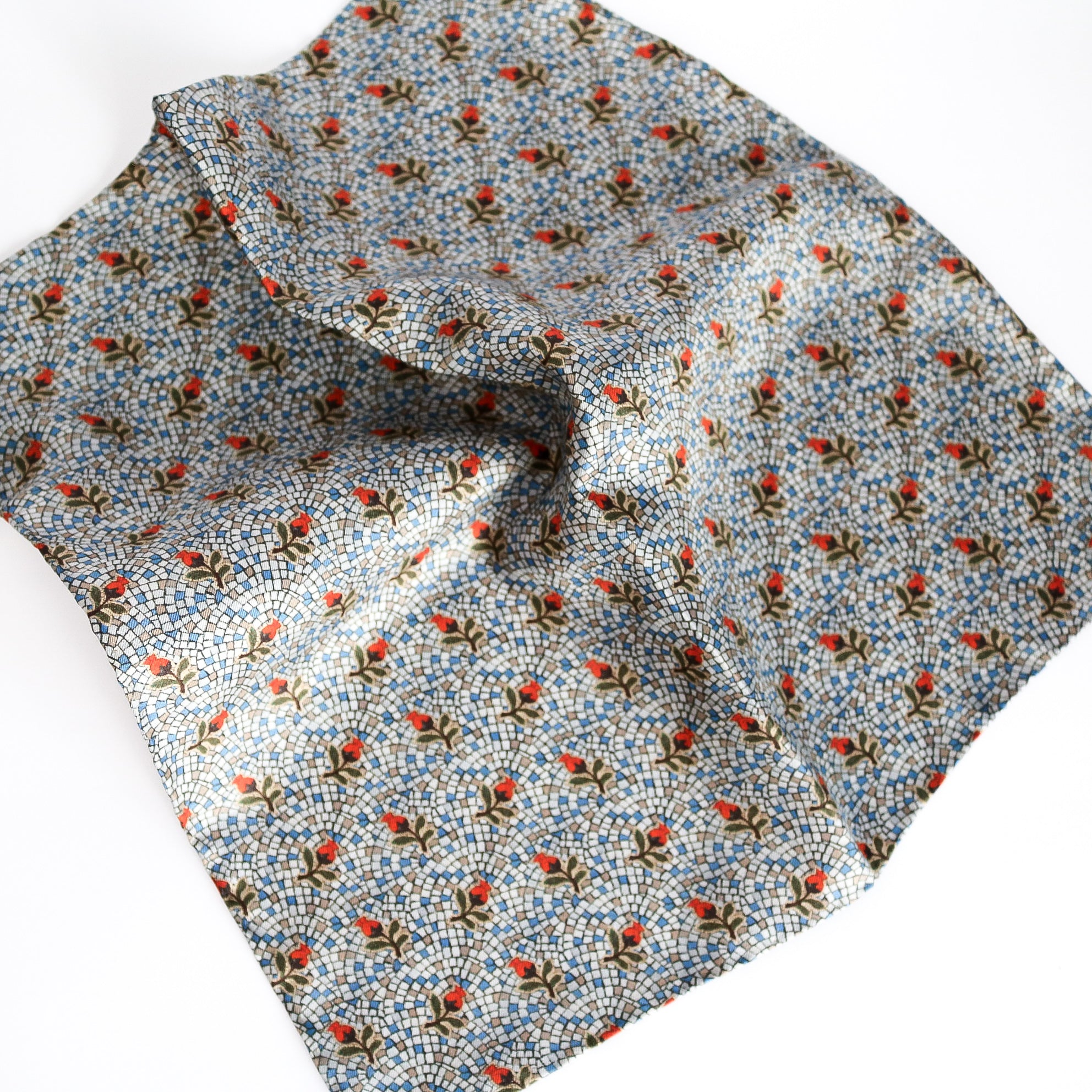 'Gumnut Blossom Mosaic' 100% silk MENS pocket square 32cm - The Block Collection