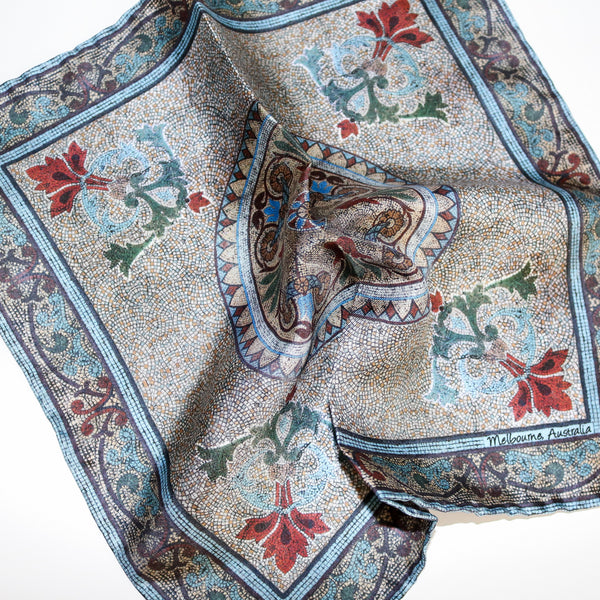 'Collins Mosaic' 100% Silk MENS pocket square 32cm - The Block Collection