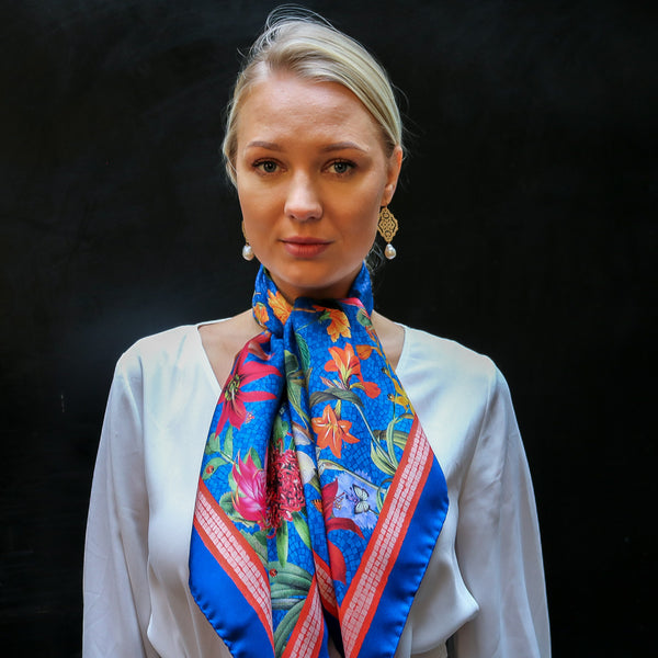 'Botanica Cornflower' CLASSIC Silk Scarf 90cm x 90cm - The Block Collection